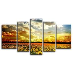 So Crazy Art-5 Panel Yellow Orange Wall Art Painting Beautif