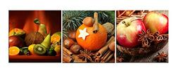 Amoy Art -3 panels Kitchen Art Wall Decor Apple Orange Canva