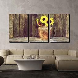 wall26 - Rustic Vase with Sunflowers - Canvas Art Wall Decor