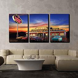wall26 - 3 Piece Canvas Wall Art - Retro American Diner at D