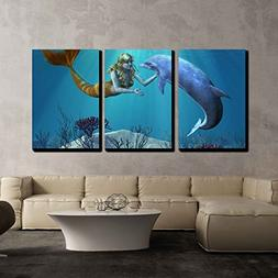 wall26 - 3 Piece Canvas Wall Art - a Friendly Dolphin Greets