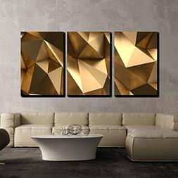 wall26 - 3 Piece Canvas Wall Art - Luxury Gold Abstract Poly