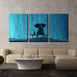wall26 - 3 Piece Canvas Wall Art - Elephant and Dog Looking