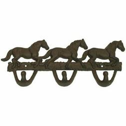 Cast Iron Utility Hooks Horses Wall Rust Western Home Room D
