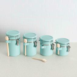 Ceramic Canisters with Air-Tight Clamp-Top Lids and Wooden S