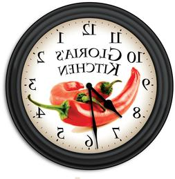 chili pepper kitchen personalized wall clock cooking