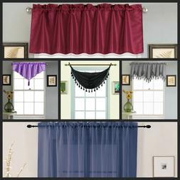 Closet Out 1PC Valance Kitchen Curtain Different Style Color