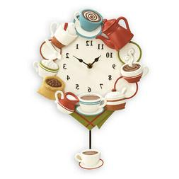 Coffee Cup Kitchen Decor Pendulum Wall Clock, by Collections