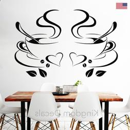 coffee cups cafe tea vinyl decal restaurant