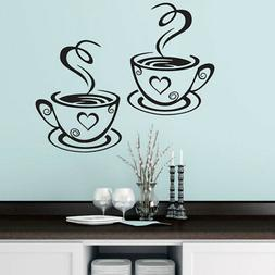 Coffee Cups Cafe Tea Vinyl Decal Restaurant Kitchen Pub Deco