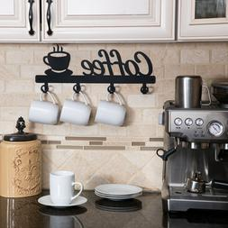 Coffee Bar Decor Sign Shelf Coffee Themed Kitchen Metal Rack