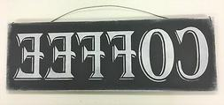 Coffee Kitchen Wooden Wall Art Sign black and white chalkboa