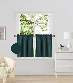 Fancy Collection 2 Panel Hunter Green Bedroom Curtains Black
