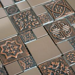 Copper Color Stainless Steel Metal Mosaic Tile For Kitchen B