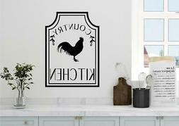 Country Kitchen Rooster Farm Decor Vinyl Decal Wall Sticker