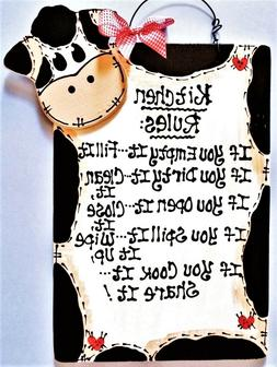 COW KITCHEN RULES SIGN Wall Art Hanger Plaque Country Wood C
