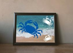 Crab Vinyl decal, restaurant decor, kitchen decor, shower st