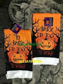 Creepy Halloween HAUNT IT PUMPKIN Decor Kitchen Towels Set o