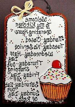 CUPCAKE OVERLAY Kitchen Operating Hours SIGN Plaque Wall Art