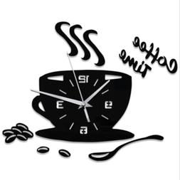 Cute Wall Clock Coffee Cup Shaped Decorative Kitchen Wall Cl
