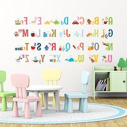 Decowall DA-1701 Uppercase Alphabet ABC with Pictures Kids W