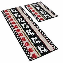 Dotteen Decorative Kitchen Rugs 2 Pieces Non-Slip Rubber Bac