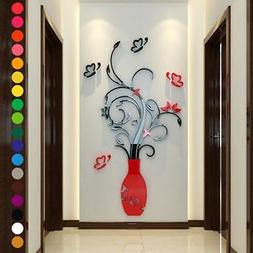 DIY 3D Vase Flower Crystal Arcylic Wall Stickers Decal Home