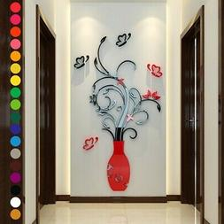 3D Flower Vase Removable DIY Mirror Wall Art Sticker Home Ro