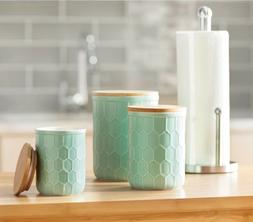 American Atelier Embossed White 3-Piece Ceramic Canister Set