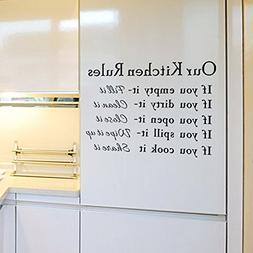 English Letters Our Kitchen Rules Wall Decal Home Sticker PV