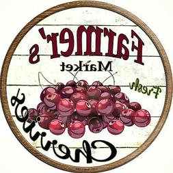 "Farmers Market Fresh Cherries 12"" Round Metal Sign Rustic Re"
