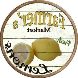 "Farmers Market Fresh Lemons 12"" Round Metal Sign Rustic Retr"
