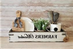 Farmers Market Rustic Wood Box/ Gift Box/ Bowl Filler / F