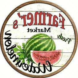 "Farmers Market Watermelon 12"" Round Metal Kitchen Sign Novel"