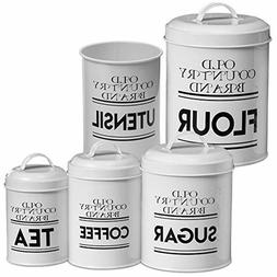 Farmhouse Kitchen Canisters White Nesting Storage Containers