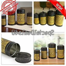 Farmhouse Kitchen Decor Canister Set 4 Rustic Country Style
