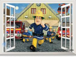 Fireman Sam Fire Engine 3D Window Wall Decals Removable Stic