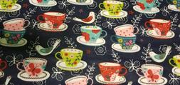 Flannel Fabric - Kitchen decor teacups & birds print - By th