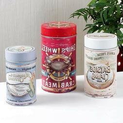 Food Safe Seafood Ad w/ Mermaid Metal Canisters Coastal Naut