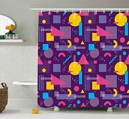 Geometric Decor Shower Curtain by Ambesonne, Square Triangle