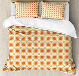 Ambesonne Geometric Duvet Cover Set, Linked Bold Geometric S