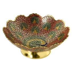 Zap Impex Golden Plated Brass Decorative Dry Fruit Bowl carv