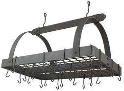 Old Dutch 30 x 20.5 x 15.3 Graphite Pot Rack with Grid and 2