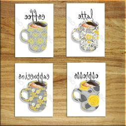 Gray Yellow Kitchen Wall Art Picture Prints Coffee Cup Mugs