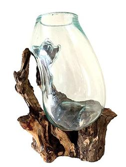 OMA Large Hand Blown Molten Glass Vase Glass and Teak Wood T