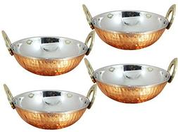 Avs Stores Set of 4, Pure Copper, Stainless Steel Bowls with