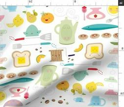 Hapy Diner Whimsical Breakfast Kitchen Decor Fabric Printed