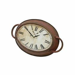 Stonebriar High Plains Red Rust Metal Oval Wall Clock,