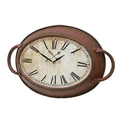 Stonebriar High Plains Red Rust Metal Oval Wall Clock
