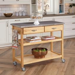 Home Styles Natural Designer Utility Cart with Stainless Ste